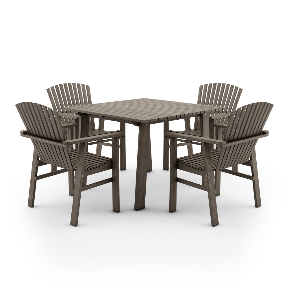 ikea sundero set of table and four chairs with armrestspinegrey - Garden Furniture 3d Model