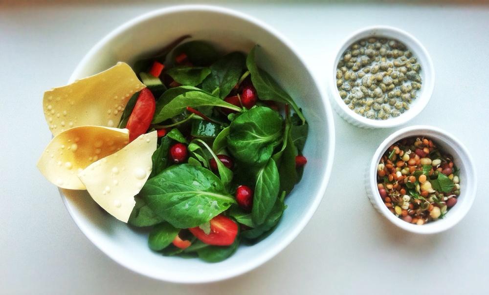 Salat, bønnemiks og raita.