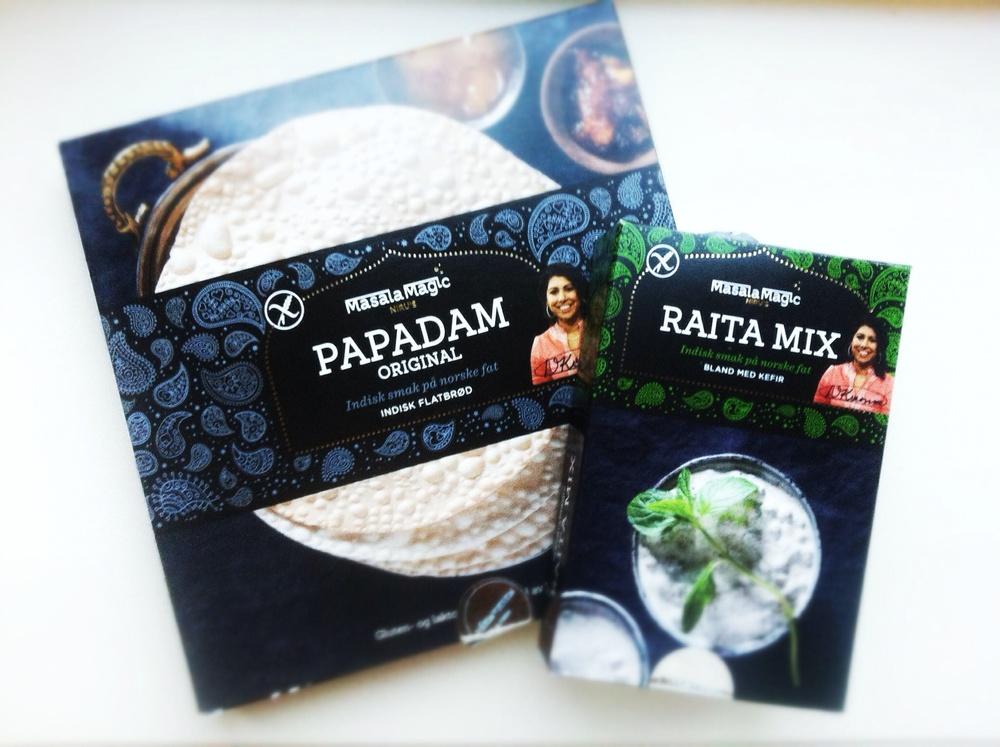 Papadam og raita mix fra Masala Magic får du kjøpt på Meny.