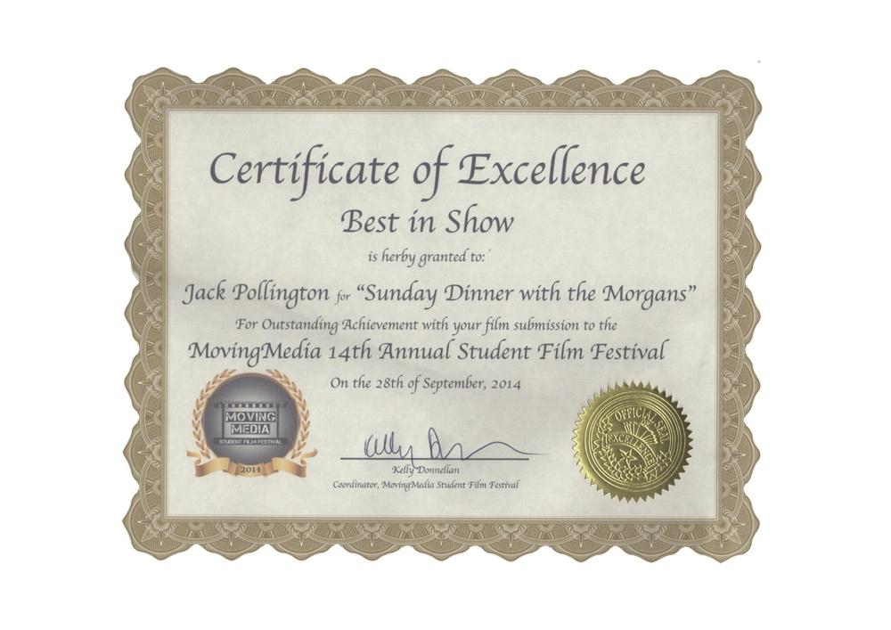 'Best in Show' - Detroit Moving Media Film Festival. MI, USA. September, 2014