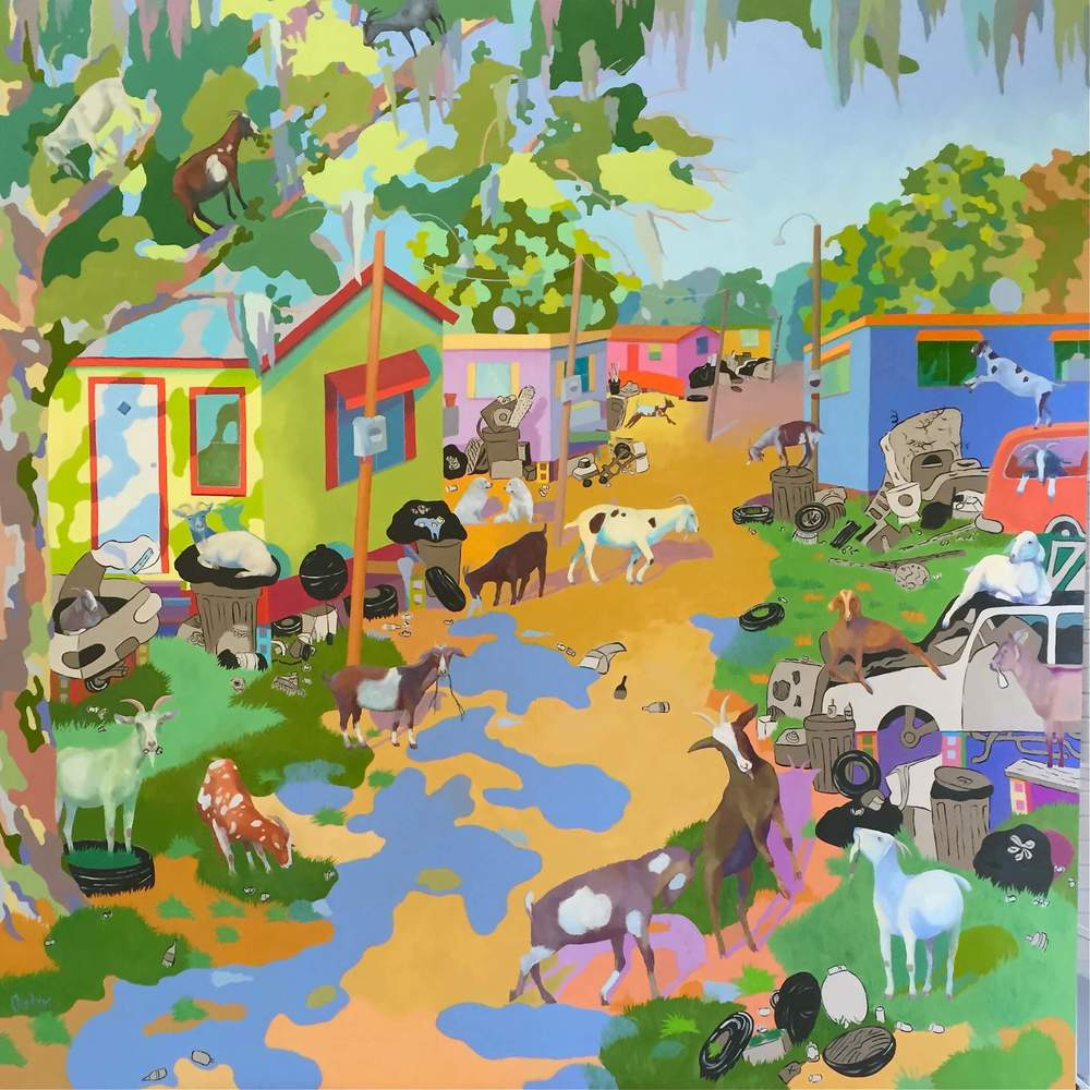 Take a Goat With You 72 x 72 Oil on Board