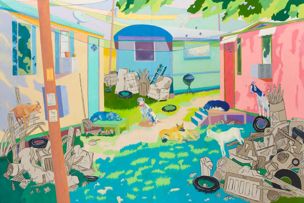 Dog Town 48 x72 Oil on Board Sold