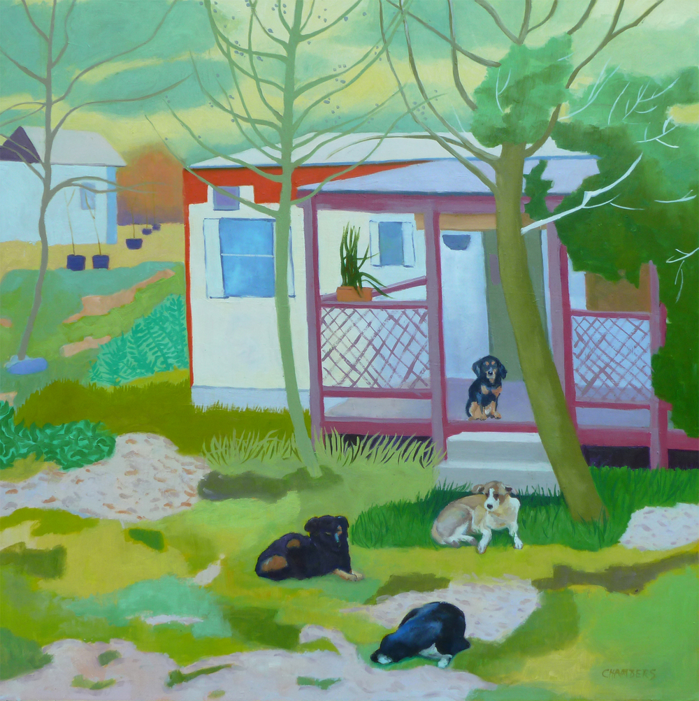 Only the Dogs are Home  24 x 24  Oil on Board  Sold