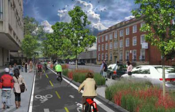 Rendering from City of Lincoln, Alta Planning & Peopleforbikes