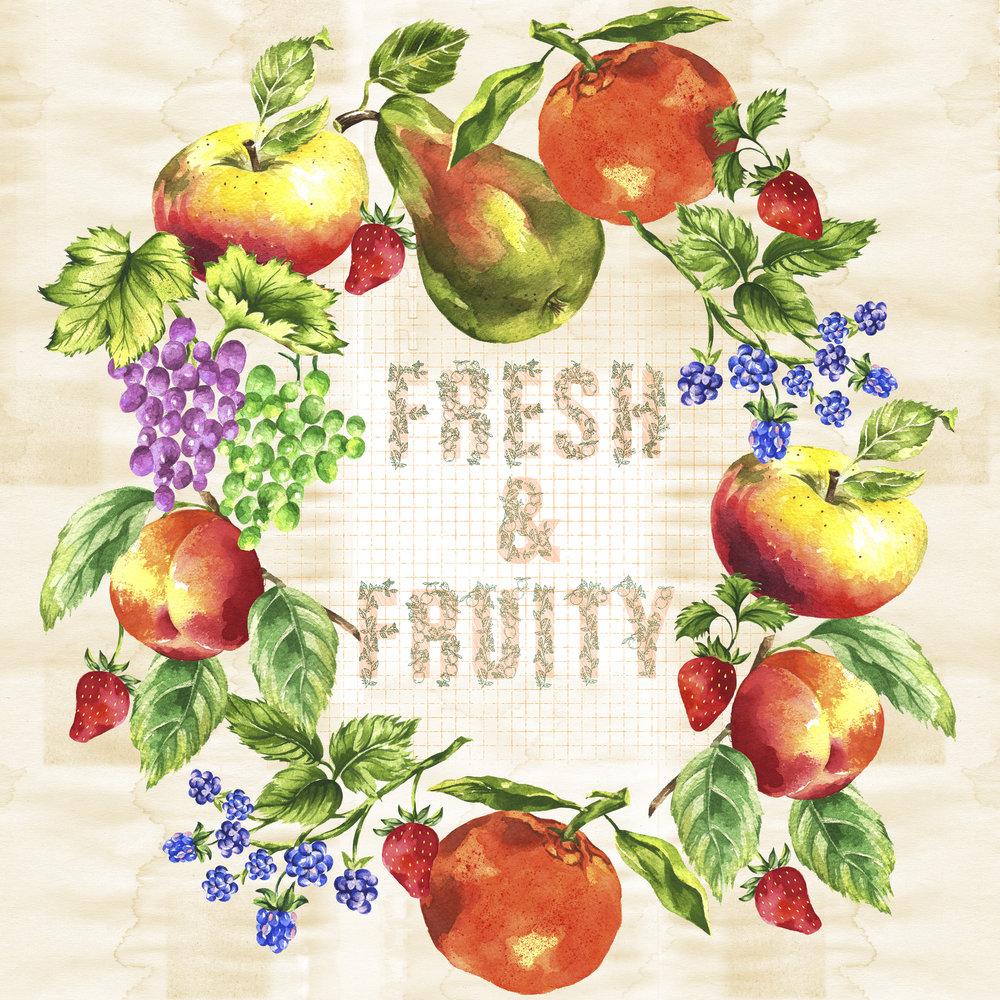 Watercolor Fruit & Vegetable Wreaths