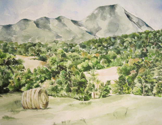 Haystack Watercolor SOLD