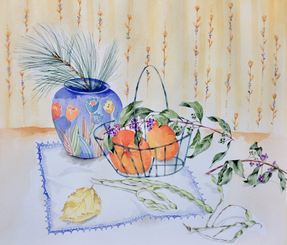 "Vase & Clementines 18x15.5"" Watercolor"