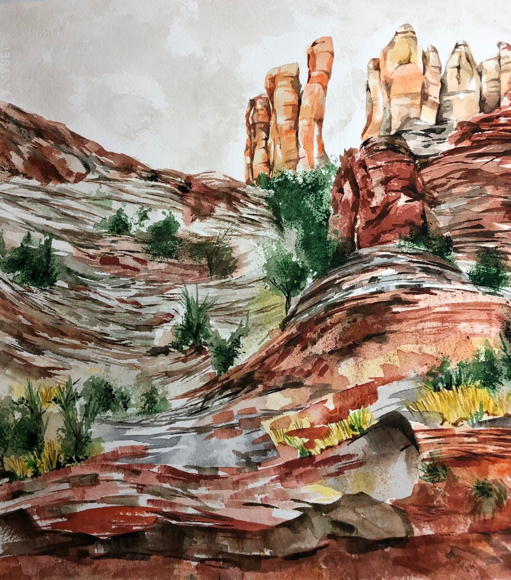 "Sedona 12.25 x 11.5""  Watercolor"