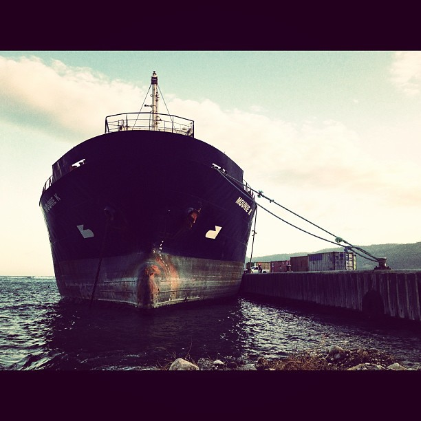 Monie K #boat #marine #commerce #transportation #sea #sky #haiti #jacmel #InstaSize (at City of Jacmel)