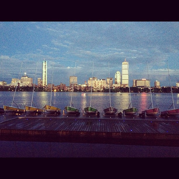 The City by the River #charlesriver #Boston #sunset #InstaSize #building  #river #boat #lanscape
