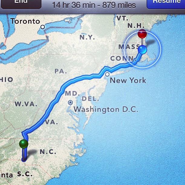 Enfin à destination! #Charlotte to #Boston 🏨⛽🚙🚗🚙 🚓🌄🌅🌃🌉🏡#longroad #NC #MA #home