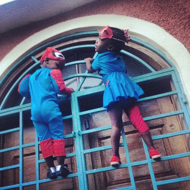 Spiderman and Spiderwoman #halloween #costume #kids #twins #love #haiti #climbing  (at Laboule)