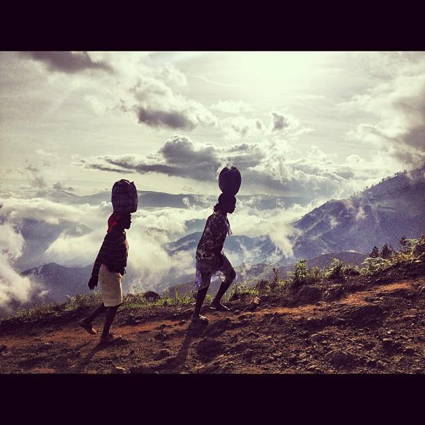 On the top of Haiti #nature #InstaSize #mountain #clouds #sky #haiti #seguin #forest #HaitiTourism #women #walkers