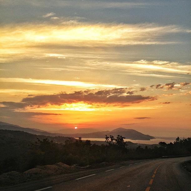 Sunset #aquin #haiti #sun #view #mountain #clouds