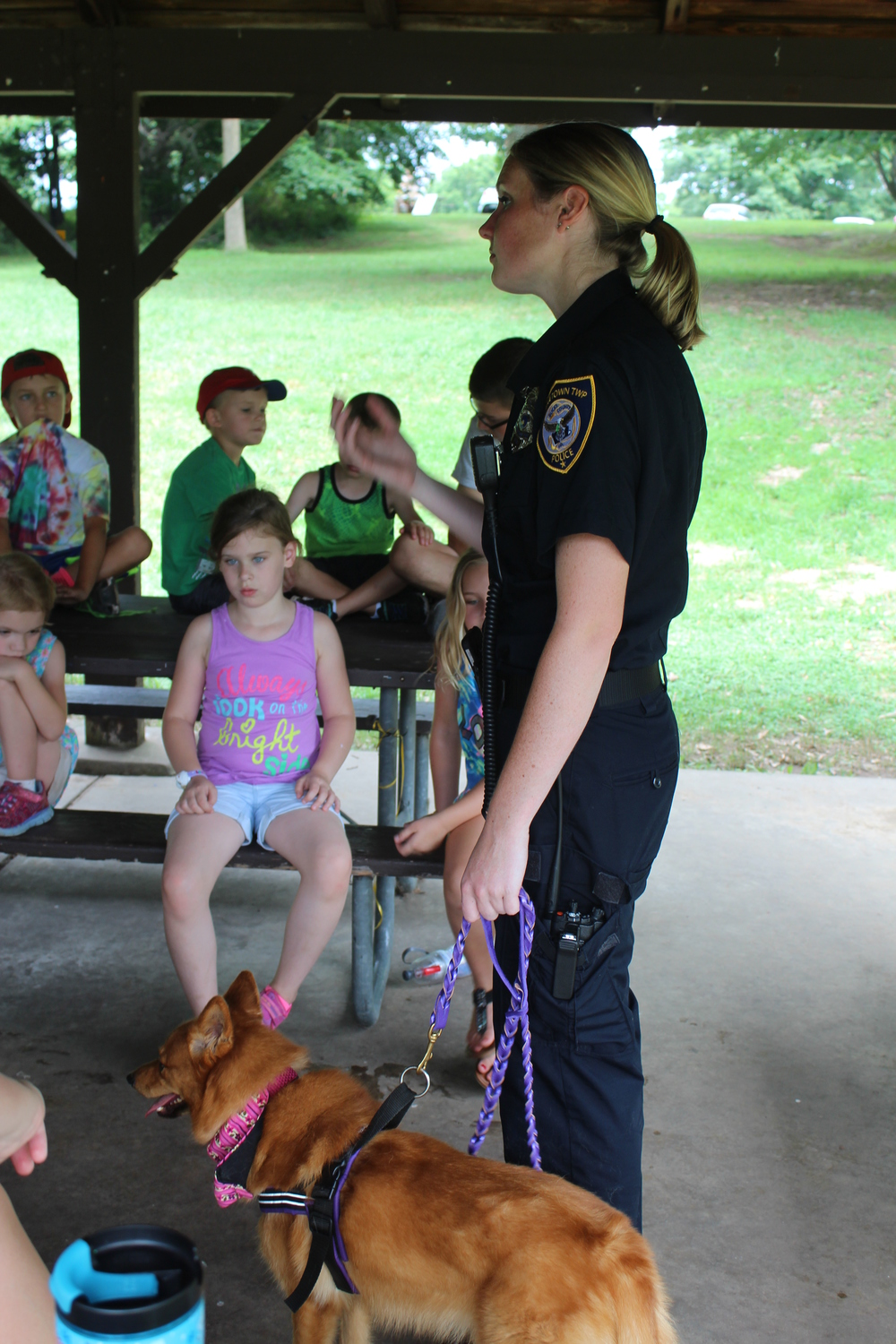 ACO Katie Brennan with her education dog Bubbles.