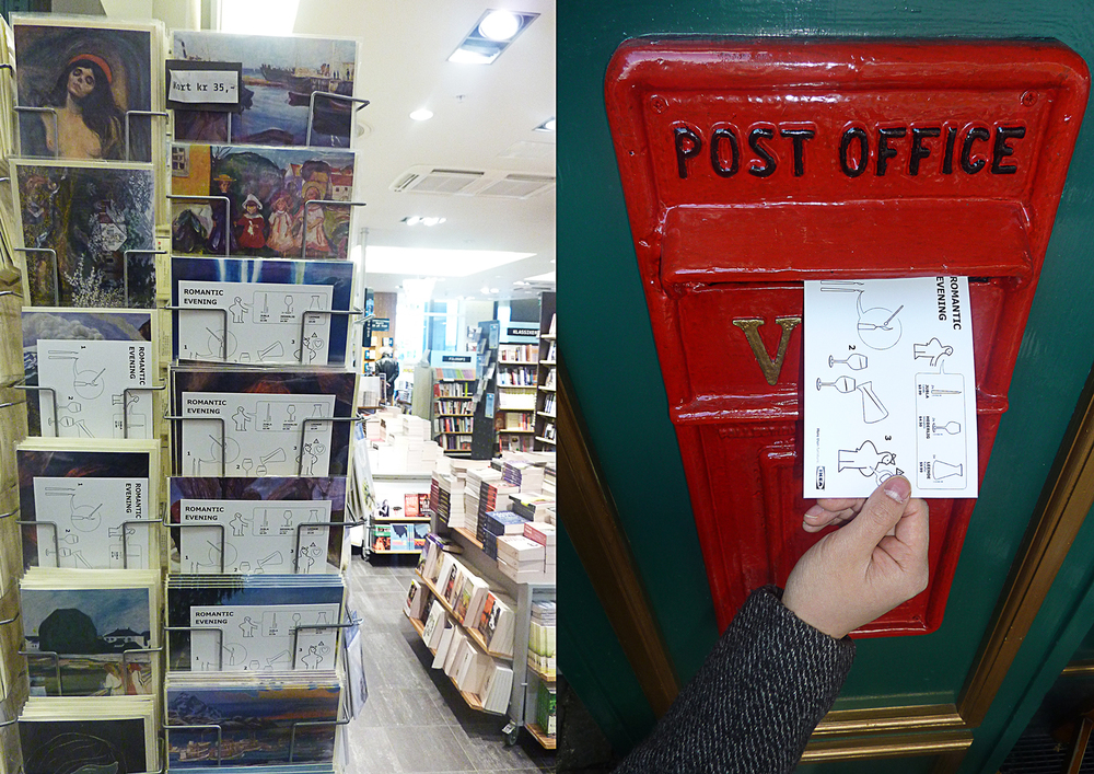 We put the post cards where they sell cards and in post offices.