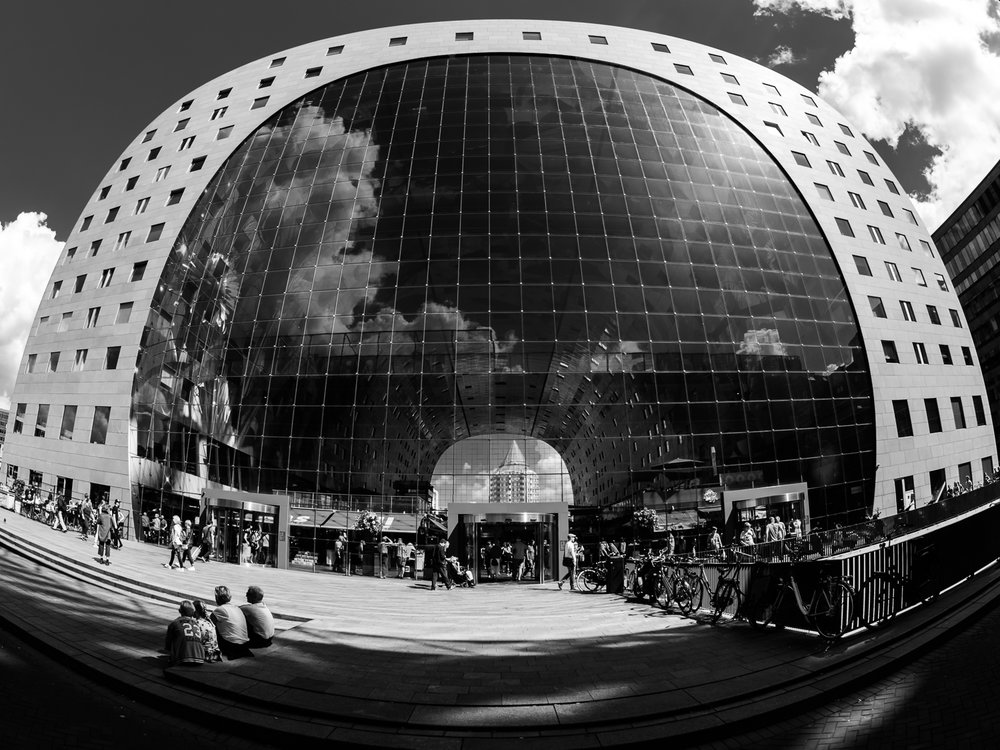 "ROTTERDAM AUGUST 2016 Shot of the famous ""Markthal"" in Rotterdam Centre. Amazing how close you can be at such a big building and cover it completely with a Fisheye lens. Shot with Olympus OMD5 Mark 2 and Olympus 8 mm f/1.8 Fisheye PRO"