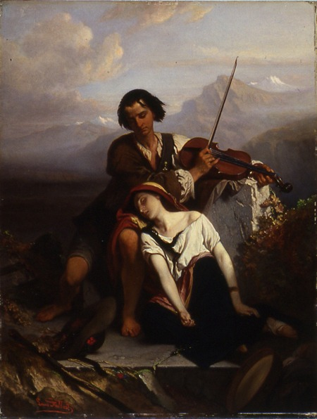 "Power of Music by Louis Gallait. A brother and sister resting before an old tomb. The brother is attempting to comfort his sibling by playing the violin, and she has fallen into a deep sleep, ""oblivious of all grief, mental and physical."""