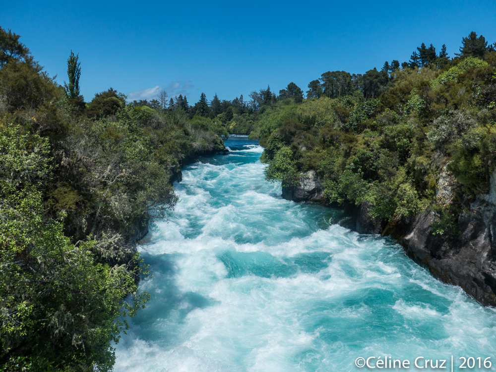 Unbelievably blue Huka Falls on Waikato river