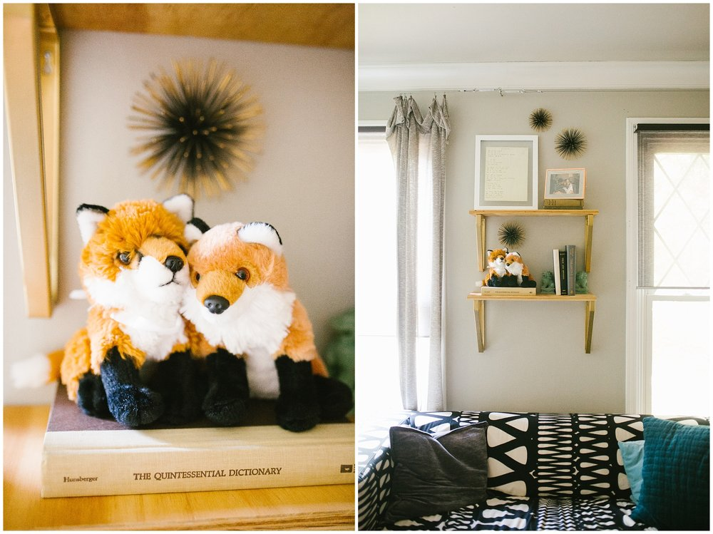 Ever since we've started dating, Michael's family and friends have gifted me with all the Fox things (his last name's Fox if ya didn't know), so these two little stuffed animal foxes came from a large stash back home.