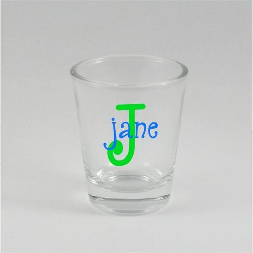name monogram shot glass baloo designs