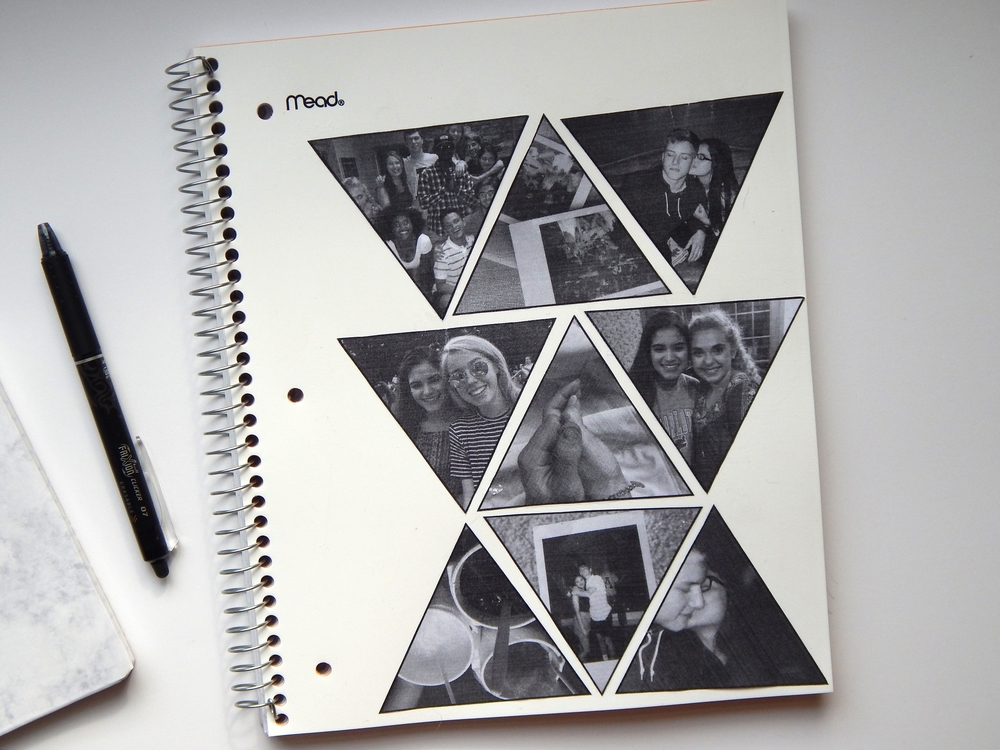 This notebook means a lot to me. My friends and me are all going off to different colleges, and it's pretty difficult. This notebook will serve as a cute reminder of all the fun times we had and how much they mean to me. All I did was gather some of my favorite pictures and sized them down to Triangles in Pages. I cut them out, arranged them how I like and then stuck them on with Mod Podge. I went over it with Mod Podge too to make the notebook more durable.