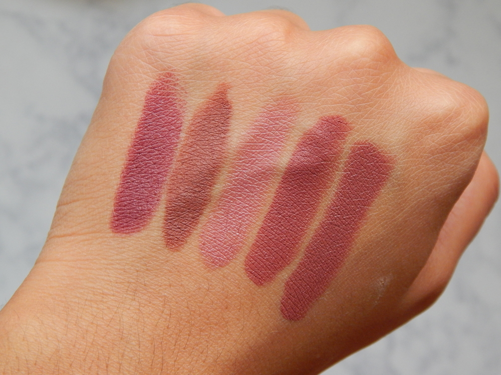 MAC Amorous,Maybelline Nude Nuance,Tarte Amazonian Clay Lipstick in Peony,Maybelline Touch of Spice,MAC Twig