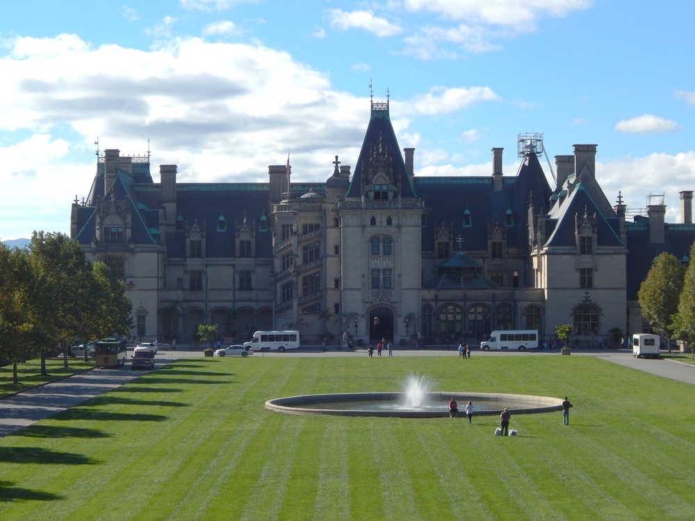 The Biltmore Estate is 135,280 square ft. It has 35 bedrooms, 43 bathrooms and 65 fireplaces.