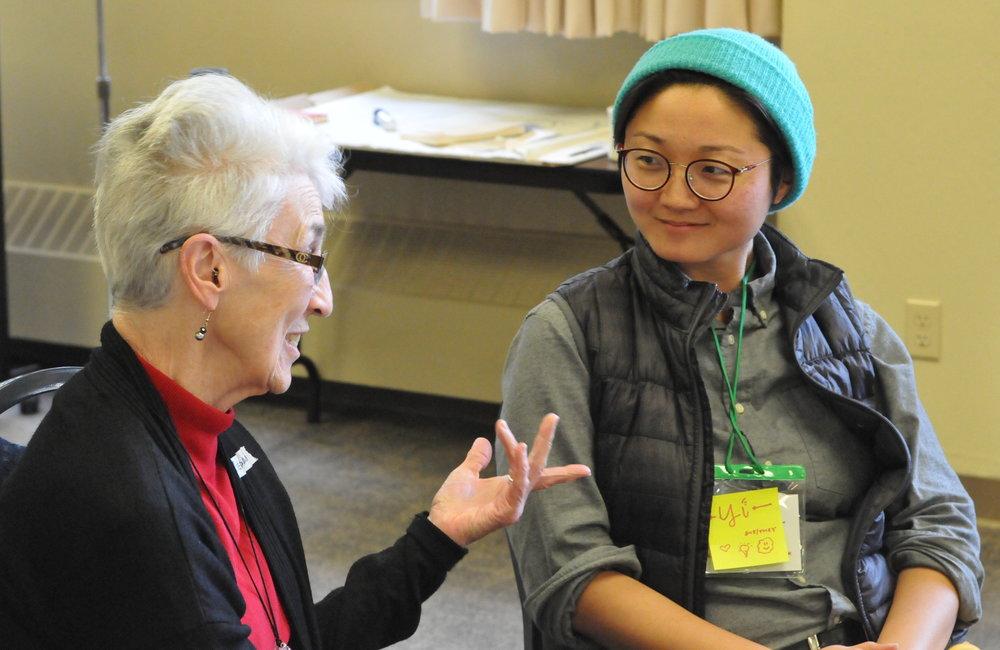 Yi Zhang and Sr. Rosann Fraher, RSM, at a Nuns & Nones gathering. Photo by Sarah Bradley.