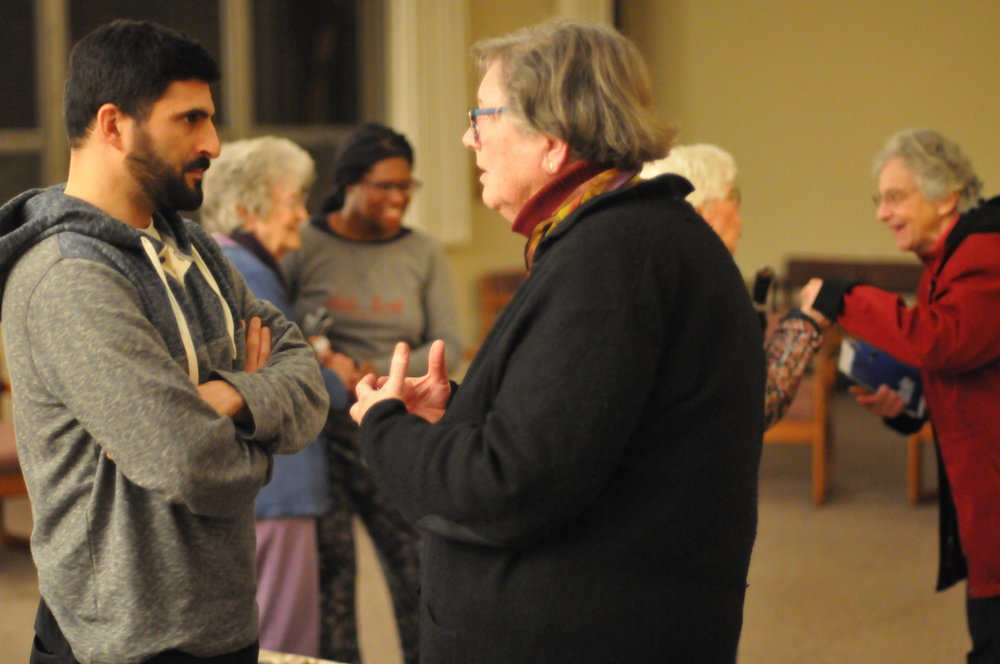 Eli Feghali and Sr. Celeste Marie Nuttman, RSM, carry on the conversation after a salon on the vow of chastity at Mercy Center. Photo by Alan Webb.