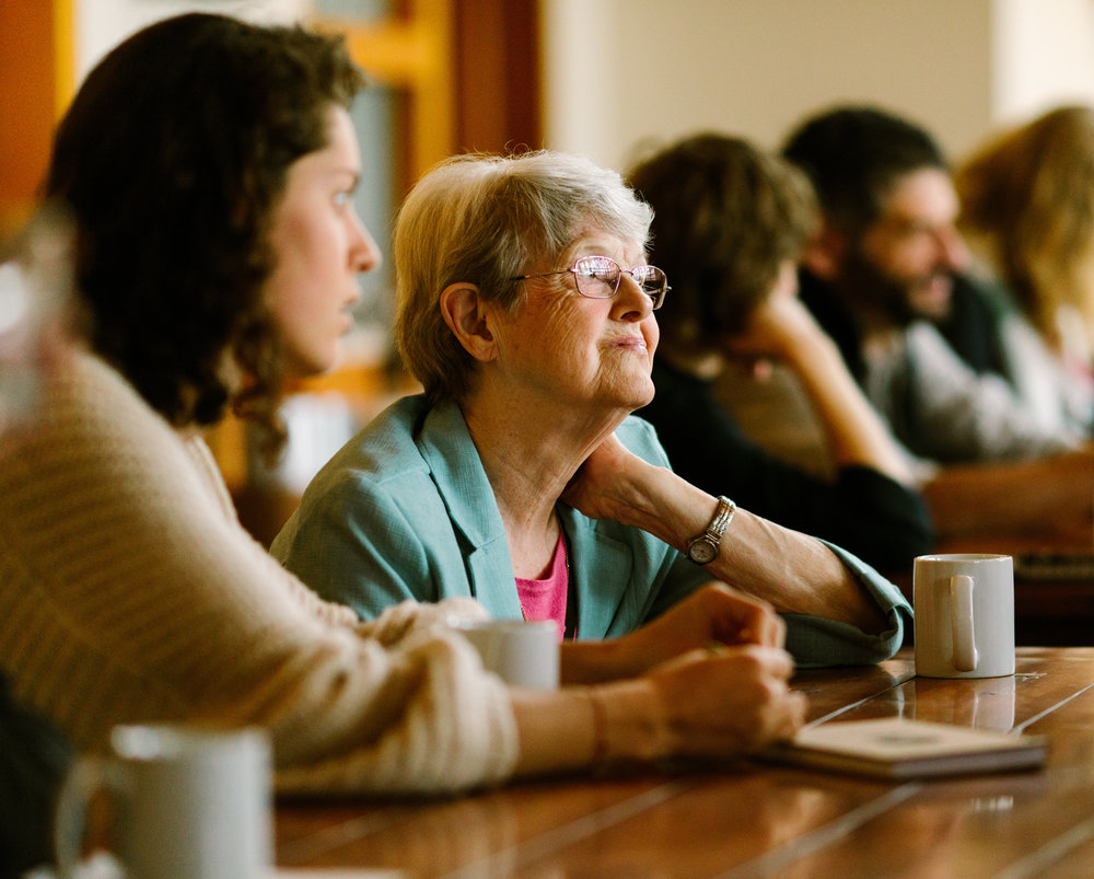 Sr. Barbara Hansen, OP, during breakfast at a national Nuns & Nones gathering at the Fetzer Institute. Photo by Rhino Media.
