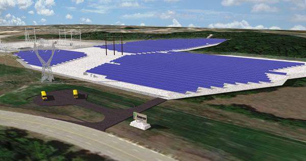 A rendering of Ameren Missouri's solar power plant.