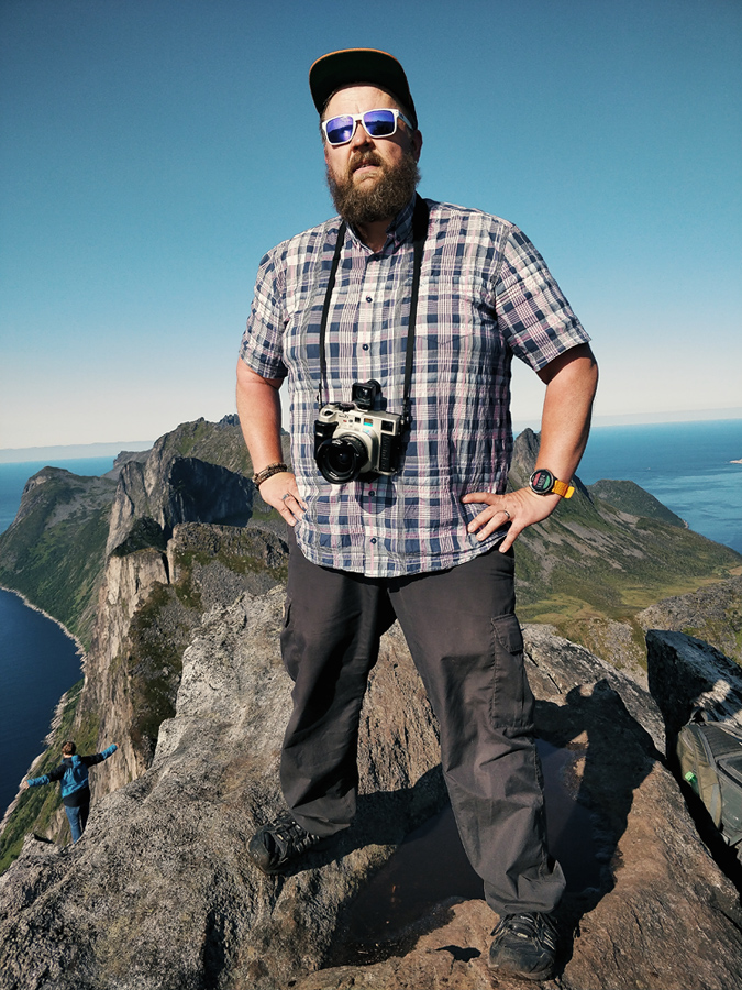 Selfie on the top of the Segla. Senja island, Norway.