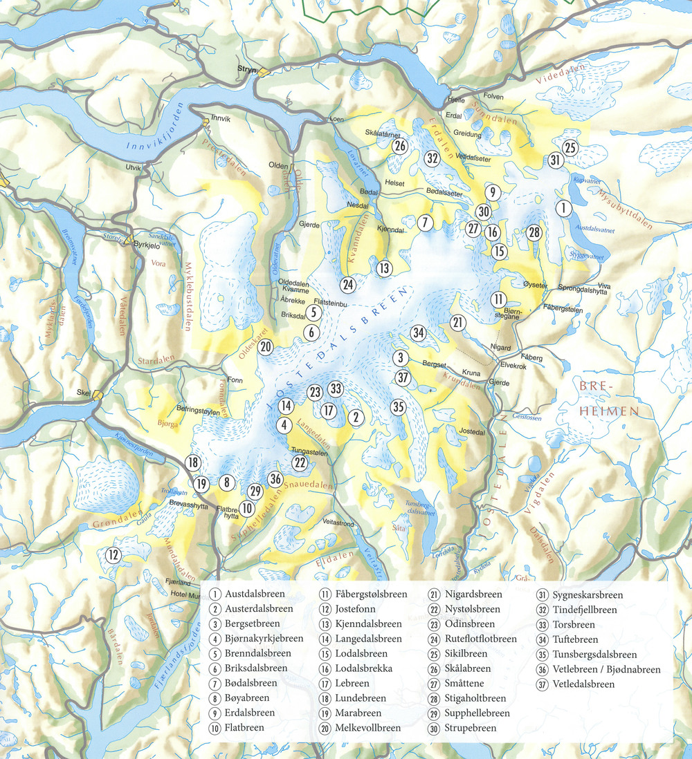Map showing the 37 named outlet glaciers from Jostedalsbreen. The map is from the book 'Norske isbreer' by Orheim, O. 2009.