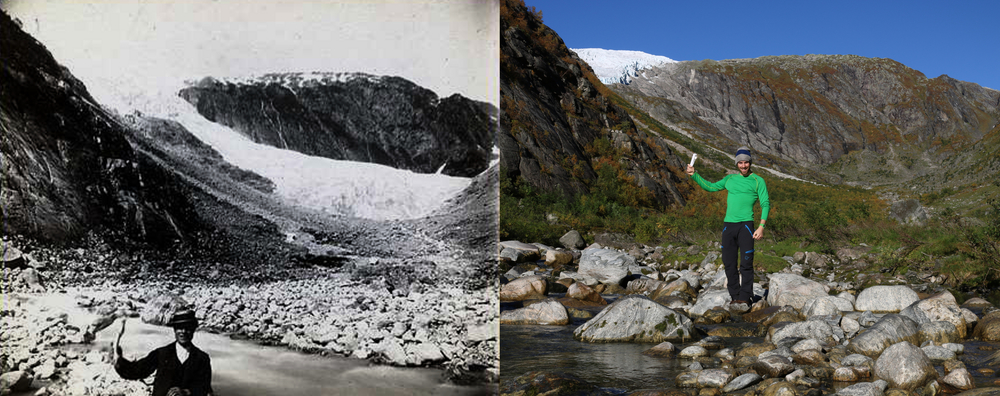 Vetle Supphellebreen Glacier in 1884 (photo: Steensrup, K.J.D.) and in 2015 (photo: Pål Gran Kielland).
