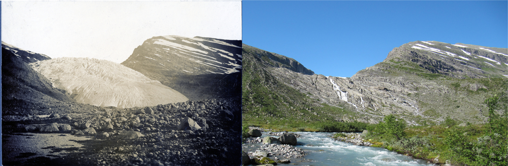 Haugabreen Glacier in the 1930s (photo: NGU) and in 2012 (photo: Pål Gran Kielland).