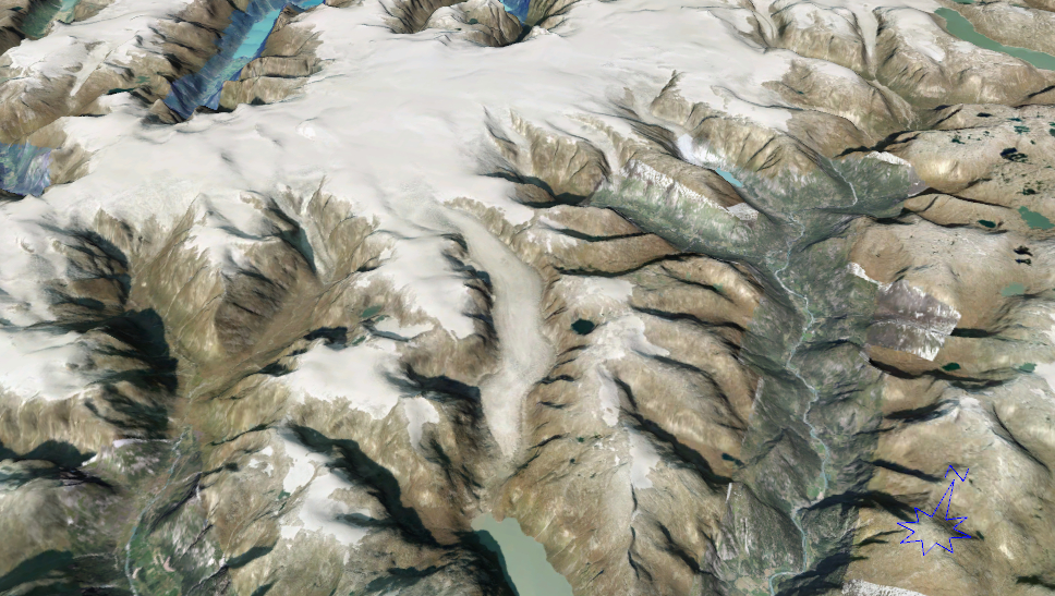 Aerial 3D image of Tunsbergdalsbreen (in the centre of the image) and the surrounding area. The glacier drains from Jostedalsbreen Ice Cap. Credits: www.norgei3d.no.