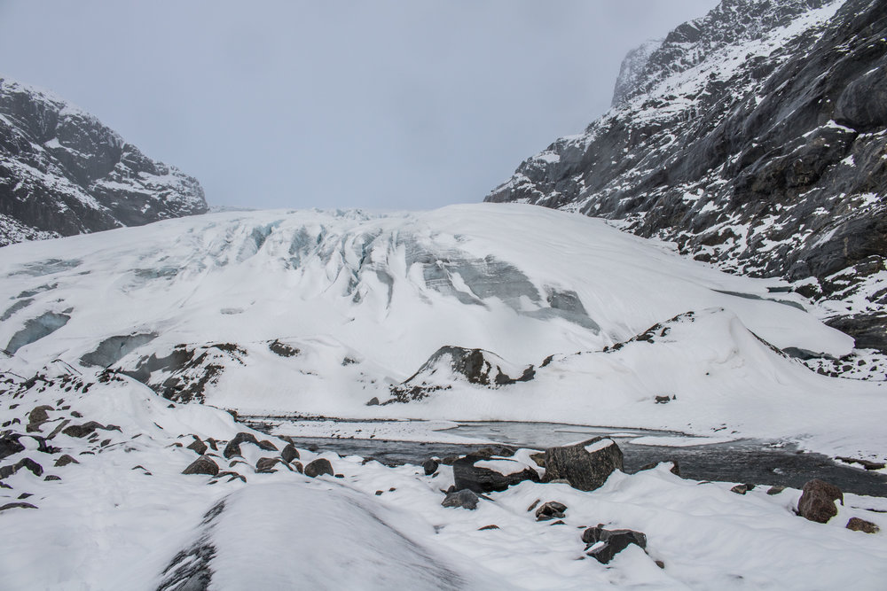 Haugabreen Glacier after a snow fall in November 2017. Photo: Pål Gran Kielland.