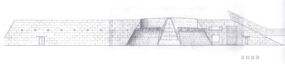 Skizze der Nordfassade des Museums.