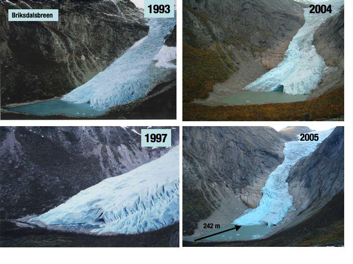 Briksdalsbreen Gletscher 1993-2005