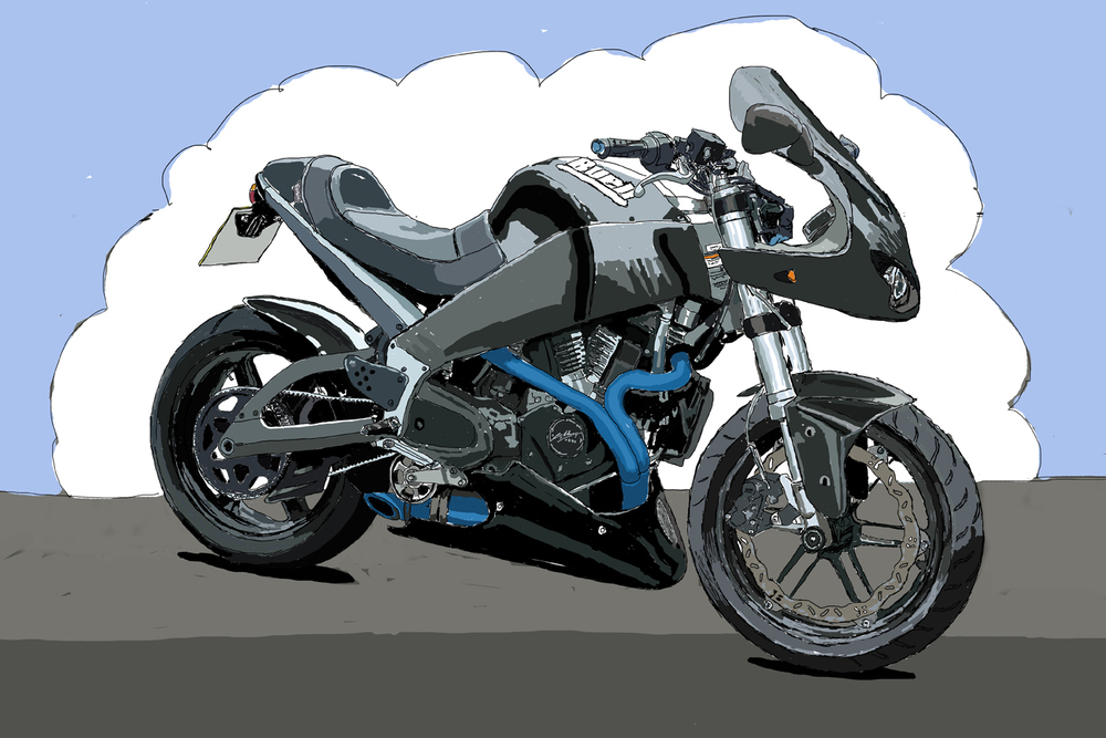 Customised Buell XB9S.  I miss this one, sadly self destructed a few years ago!