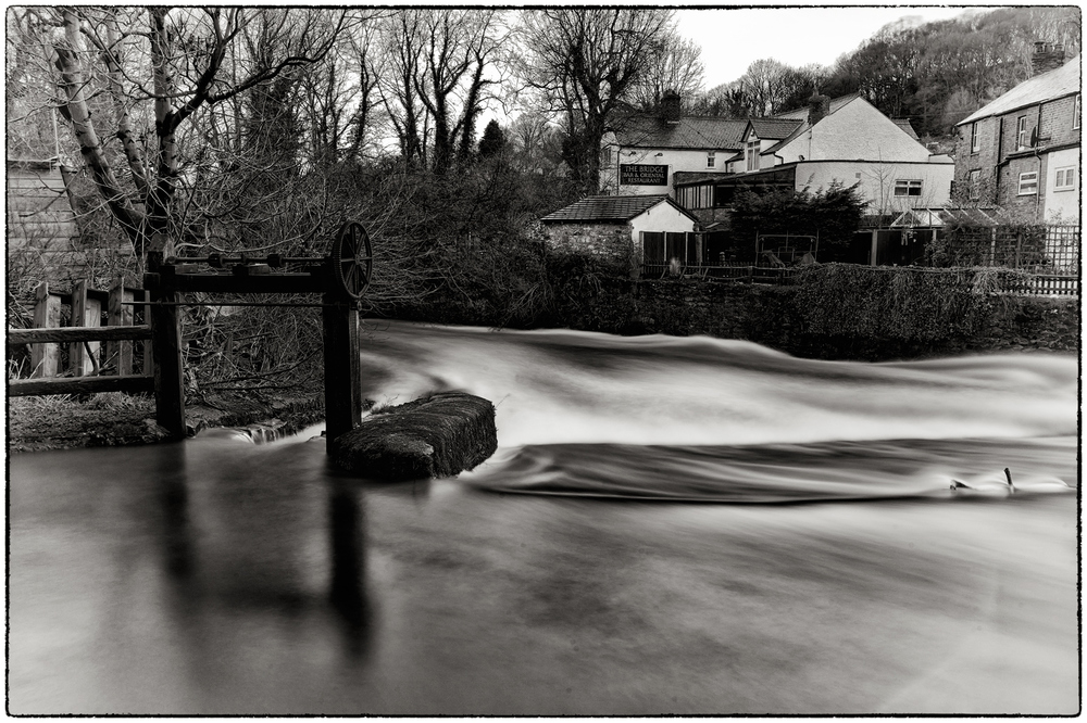 The River Alyn in full flow this morning.