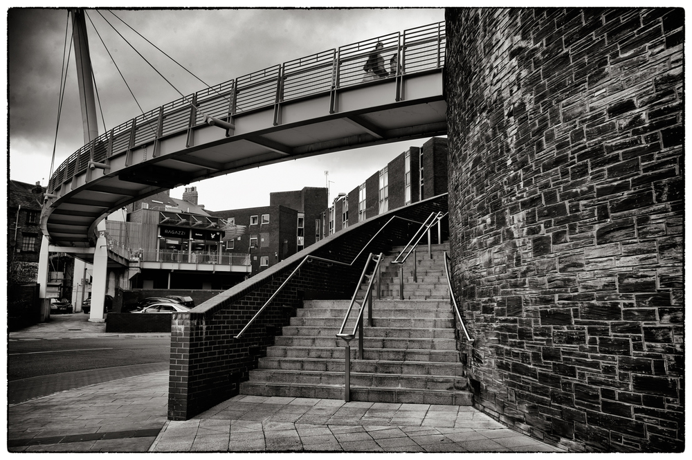 The bridge that links Eagle's Meadow to the centre of Wrexham.