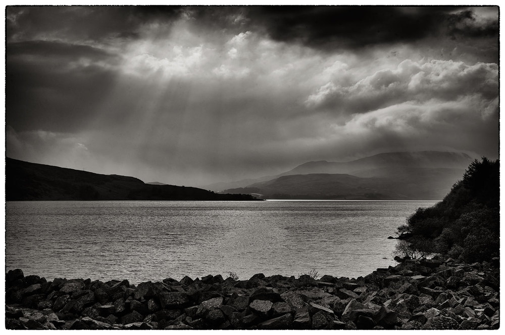 Llyn Celyn last night on the way back from Porthmadog, just before the thunder started.