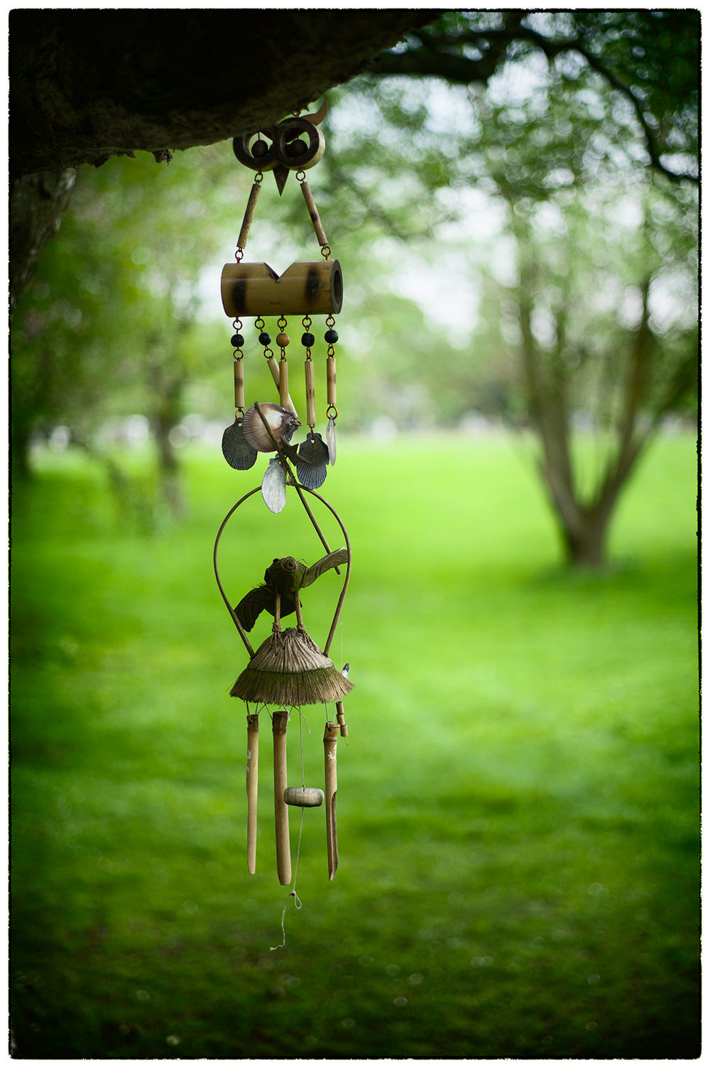 Wind chimes.  There's something really calming about the stillness.  Early morning relaxation.