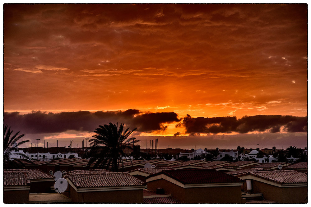 Sunset image from the roof terrace, night before last.  Corralejo.