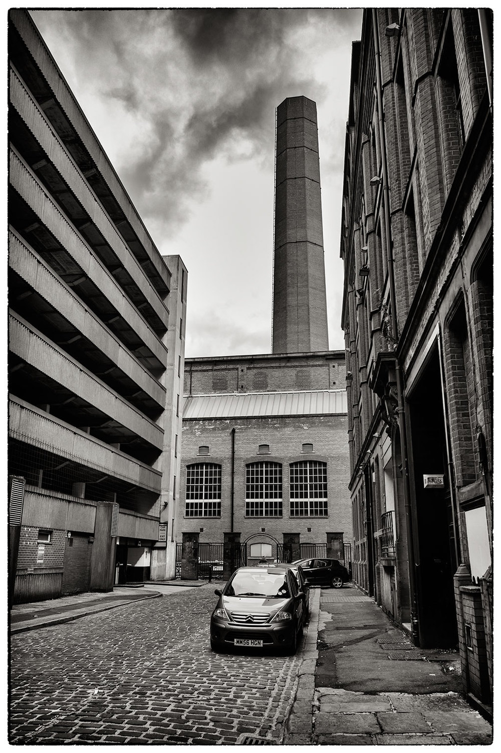 A side street next to the NCP car park in Manchester this morning.