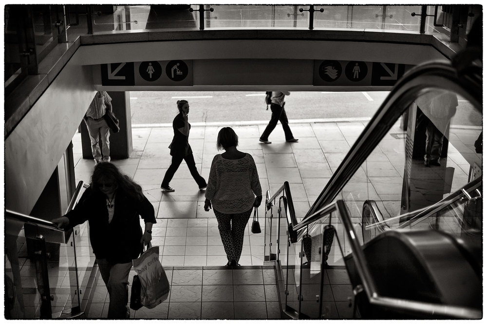 Leaving the Grosvenor Shopping Centre, Chester, this morning.