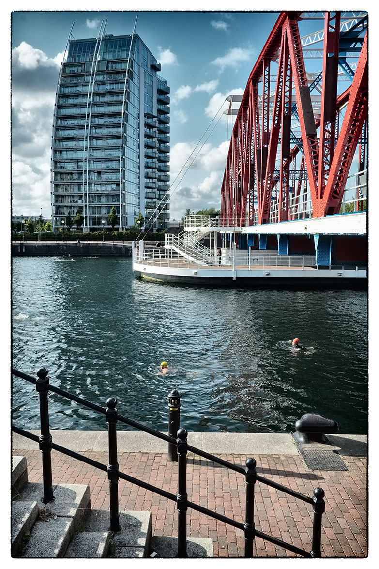 Swimming in the Quays. A lovely evening but I'm not sure I'd want to go for a swim!