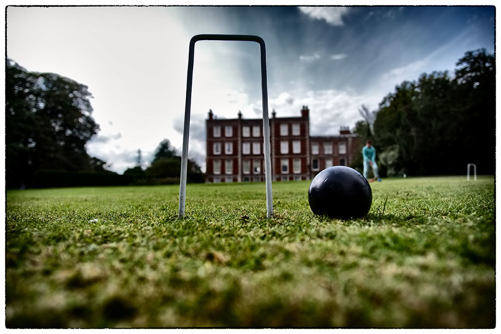 Croquet on the lawn, a worm's eye view. Gunby Hall, Lincs.